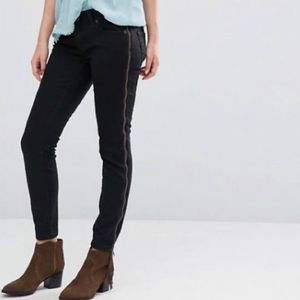 Free People Levon Washed Black Zip Skinny Jeans